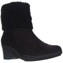 Aerosoles Factory Womens Memory Foam Wedge Short Winter Black Combo Boot... - $34.95