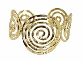 Gold plated base metal cuff statement bracelet