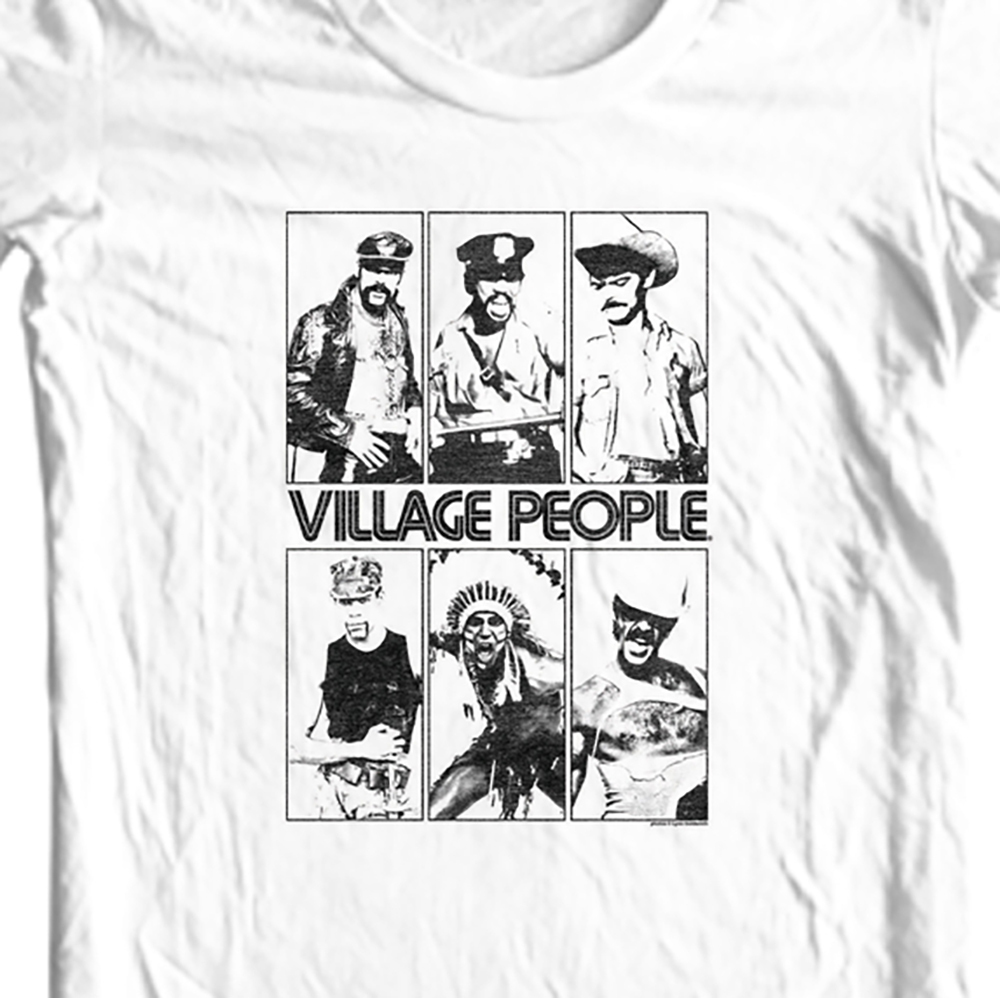 Llage people t shirt retro vintage 1970 s disco ymca macho man graphic tee for sale online white