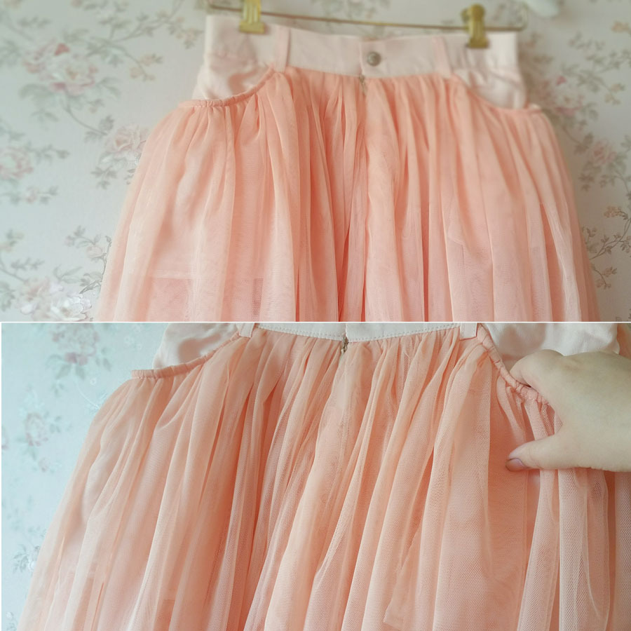 Blush Peach Bachelorette Tutu Tulle Midi Skirt with pockets, Custom A Line NWT