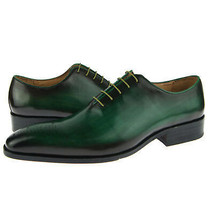 Genuine Leather Burnished Green Tone Oxford Made To Order Black Sole LaceupShoes - $139.90+