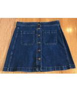 Madewell Stretch Denim A-line Mini Skirt In Salisbury Wash Patch Pocket ... - $34.62