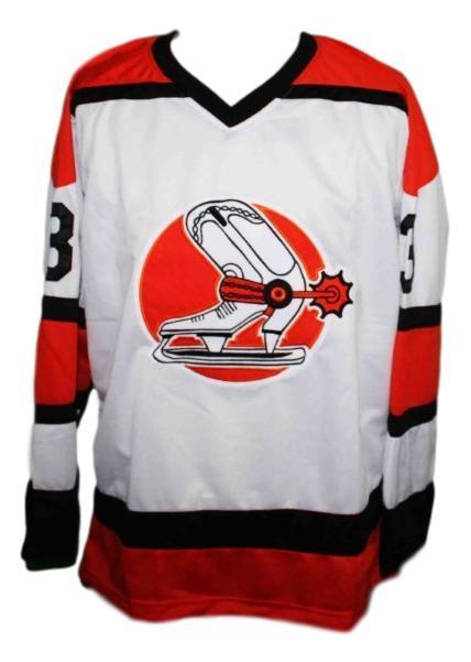 Bob gassoff  3 denver spurs custom retro hockey jersey white   1
