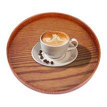 Wood Serving Plate,Wood Round Serving Tea Tray Fruit Dessert Cake Snack ... - $18.08