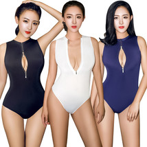 Ice Silk Transparent Open Bust High Cut One Piece Bodysuit See Through Club Wear - $7.37
