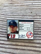 New York Yankees 2004 Alex Rodriguez Mlb Player Stats Baseball Pin - $8.95