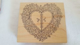 MOUNTED RUBBER STITCHED ROSE HEART WREATH EMBOSSING STAMP,GREAT IMPRESSI... - $6.05