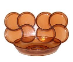 Vintage 60s Mid Century Modern MCM Set of 3 Serving Trays Bowl Amber Bro... - $59.35