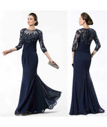 Navy Blue 3/4 Long Sleeve Lace Mother Of The Bride Dress Beaded Mother G... - $130.00