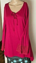 Riders by Lee Women's Long Bell Sleeved Knit Top Size L Fuschia  Pointed Hem - $17.65