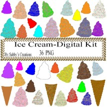 Ice Cream Digital Kit 1-Digtial Paper-Food-Art ClipJewelry-T shirt-Noteb... - $4.99