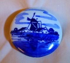 Vintage 1950s DELFT Circle Pin Blue & White Windmill Scene  - $15.00