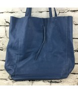 "Italian Made Genuine Leather Womens Handbag Blue Tote-Style Purse 13""X16... - $43.56"
