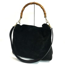 AUTHENTIC GUCCI Bamboo Shoulder Bag Hand Bag Black Suede x Leather - £231.62 GBP