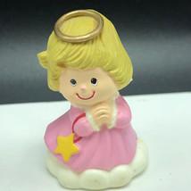 RUSS BERRIE ANGEL FIGURINE vintage miniature sculpture pink dress gold star halo - $13.55