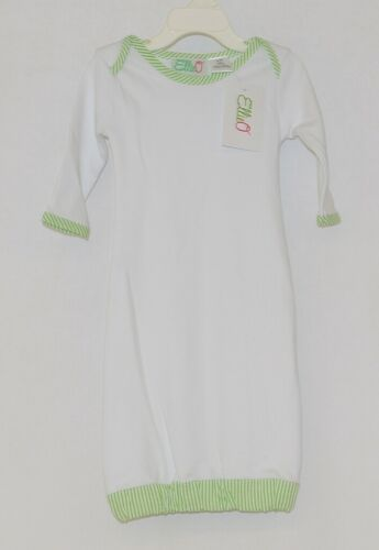 EllieO Seersucker Lime Green And White Infant Gown Cotton 0 to 3 Months