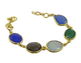 elegant Multi Gemstone Gold Plated Multi Bracelet Natural jaipur US gift - $17.86