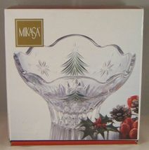 NIB MIKASA Japan CHRISTMAS NIGHT Clear w/ Green Trees Footed Glass Bowl - $9.99