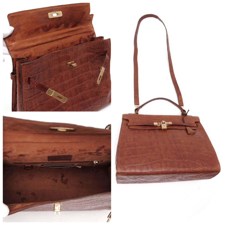 607e651cd0 Vintage Mulberry croc embossed leather Kelly bag with shoulder strap. Roger  Saul