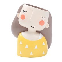 Flower Pot Cute Girl Design Flowerpot Planter Succulent Plant Resin Pots... - $13.99