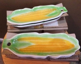 Vintage SET of 2 BOXED Ceramic (4) CORN Serving DISHES by REGAL Greeting... - $25.00