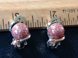 Clip On Silver Tone Earrings Faux Metallic Bead - $5.56