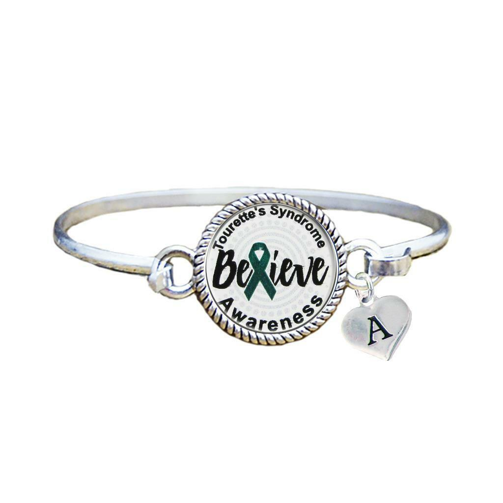 Primary image for Custom Tourettes Syndrome Awareness Believe Silver Bracelet Jewelry Initial