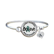 Custom Tourettes Syndrome Awareness Believe Silver Bracelet Jewelry Initial - $13.80+