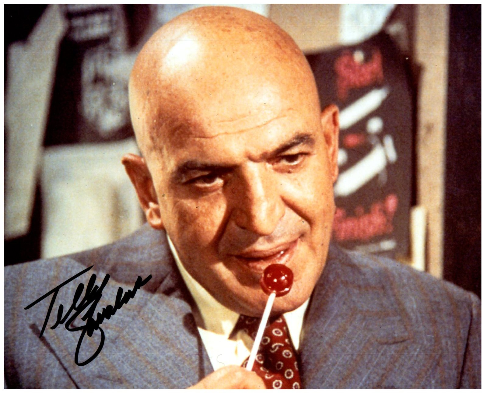 TELLY SAVALAS Signed Autographed 8X10 Photo w/ Certificate of Authenticity