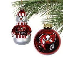 NFL TAMPA BAY BUCCANEERS BLOWN GLASS SNOWMAN & BALL ORNAMENTS SET OF 2 NEW - $13.55