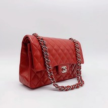 AUTHENTIC Chanel RED Quilted LAMBSKIN MEDIUM DOUBLE FLAP BAG SILVERTONE HW image 6