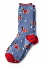 Women's Dachshund Dogs in Sweaters Crew Winter - Christmas Holiday Socks - $8.50
