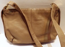 Vintage Koret Taupe Leather Convertible Handbag Shoulder Bag 1980s - $19.79