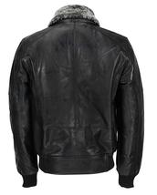 Mens A2 Aviator Pilot Fur Collar Air Force B3 Black Bomber Leather Jacket image 2
