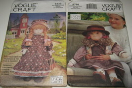 "2 Vogue Craft 8336 & 8798 Early American 18"" Doll Outfits 27"" Little Fri... - $10.88"