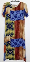 Vintage Teddi Womens Size Medium Multi Color Print Maxi Short Sleeve Dress - $0.98