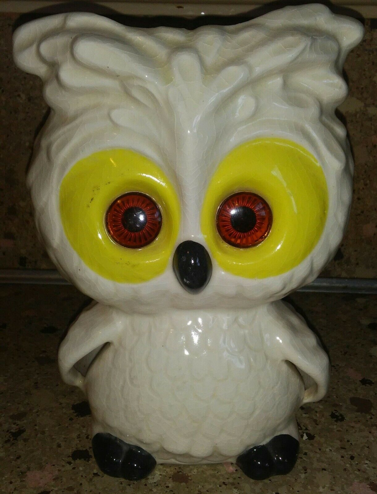 Vintage Luv Owl Tea light Candle Holder White w Yellow Orange Eyes