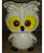 Vintage Luv Owl Tea light Candle Holder White w Yellow Orange Eyes - $30.68