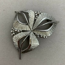 Silver Tone Leaf Brooch Pin Vintage Brushed Textured Open Work Classic L... - $11.84