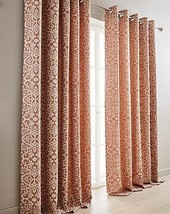 WOVEN DAMASK JACQUARD FULLY LINED TERRACOTTA CREAM RING TOP CURTAINS *8 ... - $46.37+