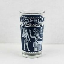 Vtg Jeanette Glass Wedgewood Blue White Jasper Egyptian Figures Highball Tumbler - $9.99