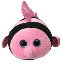 "Ty Beanie Babies Ballz Gilly Pink Angel Fish 6"" Bean Plush Blue Glitter Eyes - $7.00"