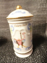 3 Lenox Porcelain Carousel Spice Jars Celery Salt Tarragon Bay Leaves 1993 - $15.99