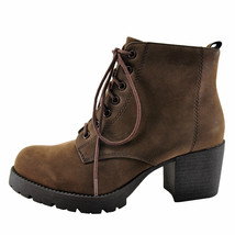 Soda Nevitt Brown Women's Block Heel Lace Up Boot - $35.00