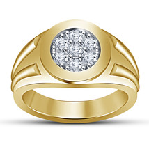 Mens Simple Wedding Anniversary Diamond Band Ring 14k Gold Over 925 Soli... - £68.29 GBP