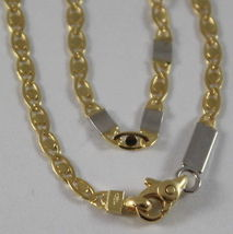 SOLID 18K WHITE & YELLOW GOLD CHAIN, OVAL PLATES LINK 19.68 IN. MADE IN ITALY image 4