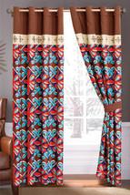 4-Pc Fleur-de-lis Floral Damask Embroidery Curtain Set Beige Brown Orange Liner - $40.89