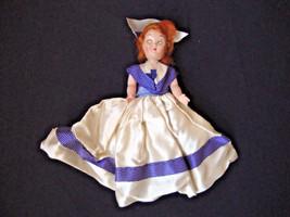 Antique baby Doll Red hair sleep Eyes vintage babydoll blue sailor dress... - $2.66