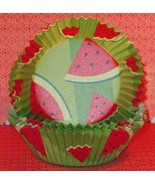 Watermelon Baking Cups 24 Oversized paper Summer Fruit Texas Size - $3.00