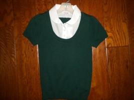 Place 1989 Size Medium 7/8 Spruce shade Short Sleeve Layered Look Girls ... - $8.91